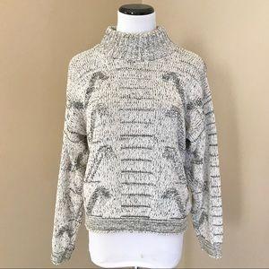 Vintage 90's Mock Neck Graphic Sweater